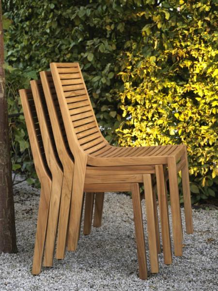Gartenstuhl Teak Holz stapelbar Volos von Brafab