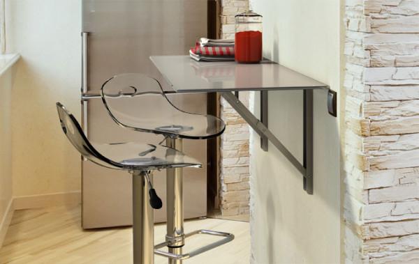 Cancio Vulcano Wandklapptisch Küche, Glas Taupe