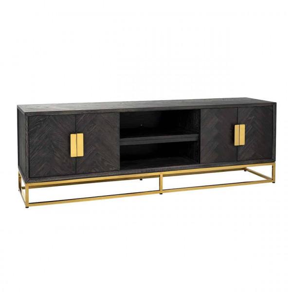 TV Kommode Schwarz Gold Blackbone 185 cm breit